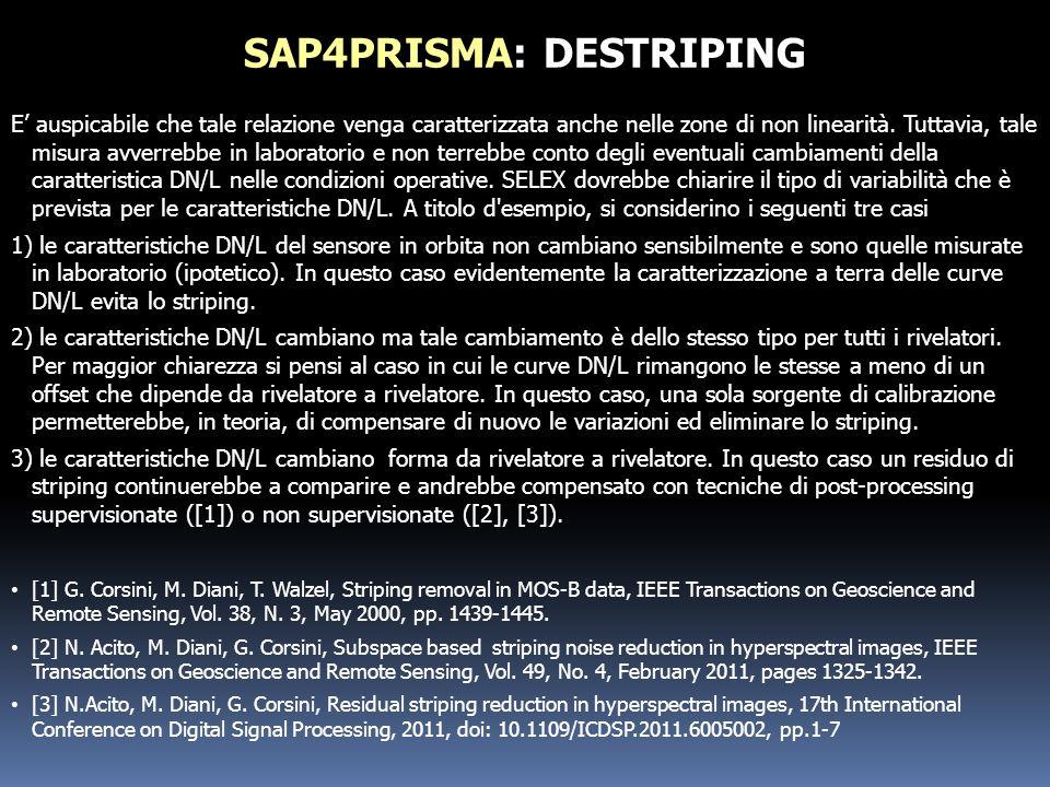 SAP4PRISMA: DESTRIPING E auspicabile che tale relazione venga caratterizzata anche nelle zone di non linearità. Tuttavia, tale misura avverrebbe in la