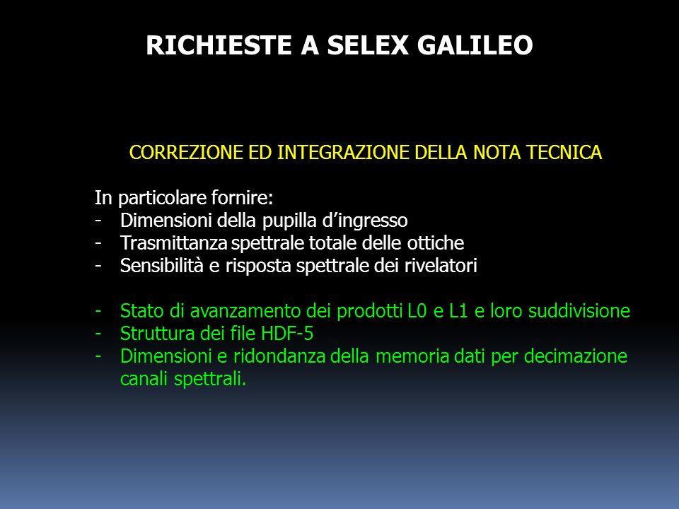 RICHIESTE A SELEX GALILEO CORREZIONE ED INTEGRAZIONE DELLA NOTA TECNICA In particolare fornire: -Dimensioni della pupilla dingresso -Trasmittanza spet