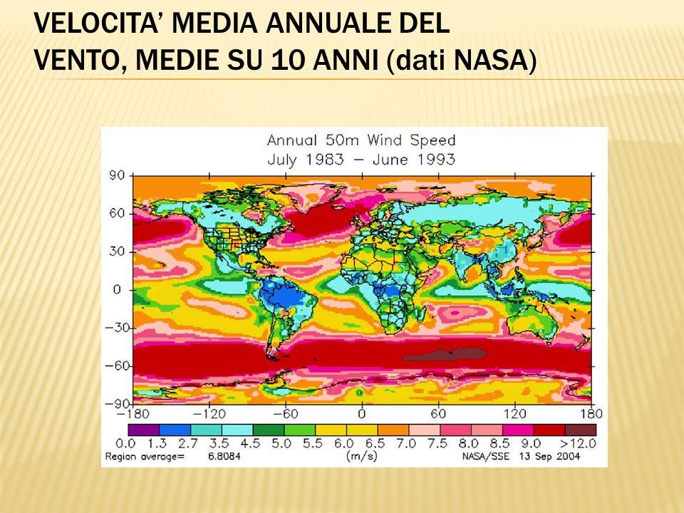 VELOCITA MEDIA ANNUALE DEL VENTO, MEDIE SU 10 ANNI (dati NASA)