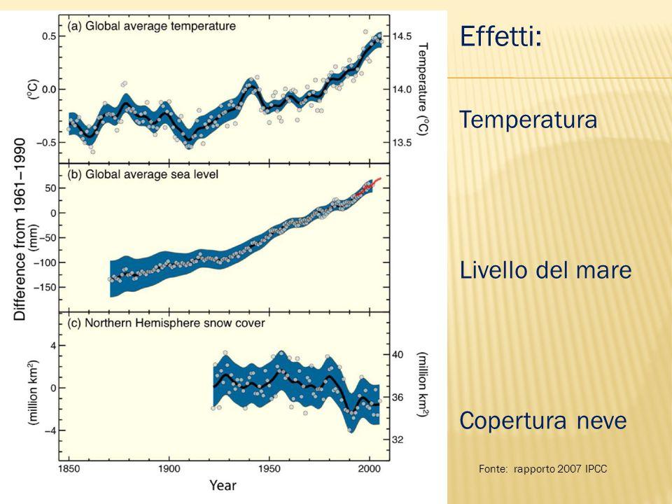 Effetti: Temperatura Livello del mare Copertura neve Fonte: rapporto 2007 IPCC