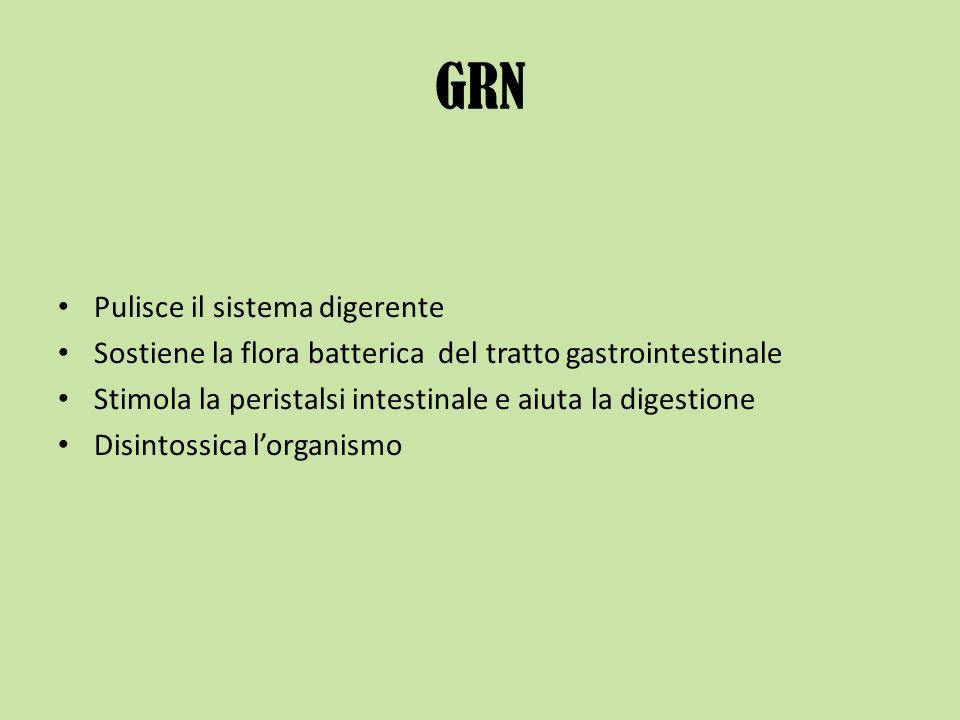 GRN Pulisce il sistema digerente Sostiene la flora batterica del tratto gastrointestinale Stimola la peristalsi intestinale e aiuta la digestione Disi