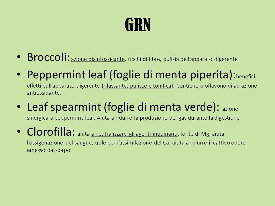 GRN Broccoli: azione disintossicante, ricchi di fibre, pulizia dellapparato digerente Peppermint leaf (foglie di menta piperita): benefici effetti sul