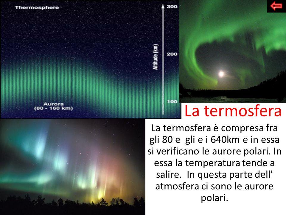La termosfera La termosfera è compresa fra gli 80 e gli e i 640km e in essa si verificano le aurore polari. In essa la temperatura tende a salire. In