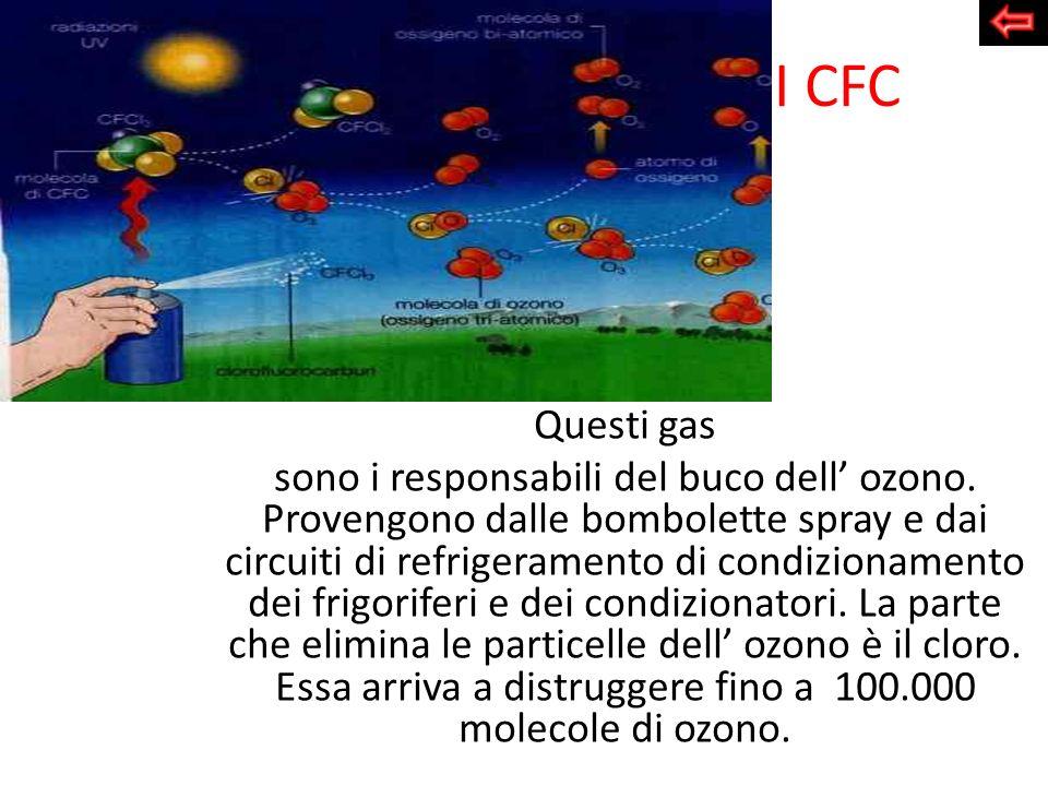 I CFC Questi gas sono i responsabili del buco dell ozono. Provengono dalle bombolette spray e dai circuiti di refrigeramento di condizionamento dei fr