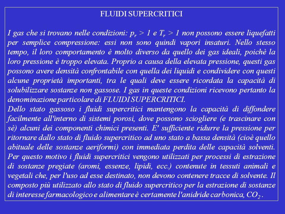 FLUIDI SUPERCRITICI I gas che si trovano nelle condizioni: p r > 1 e T r > 1 non possono essere liquefatti per semplice compressione: essi non sono qu