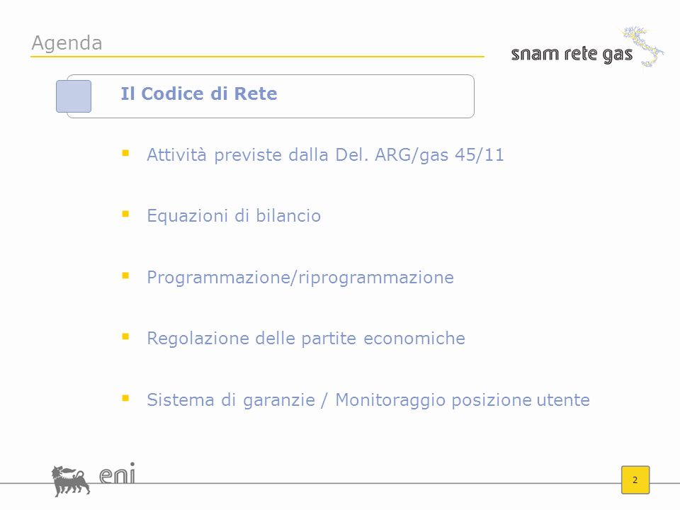 2 Agenda Il Codice di Rete Attività previste dalla Del. ARG/gas 45/11 Equazioni di bilancio Programmazione/riprogrammazione Regolazione delle partite