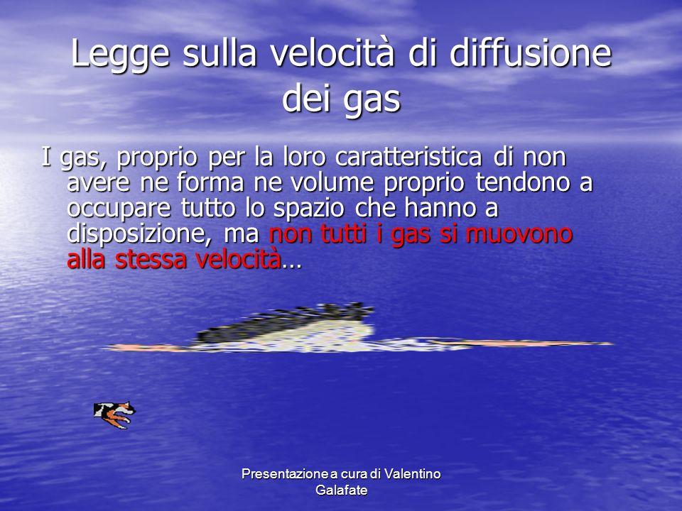 Presentazione a cura di Valentino Galafate Legge sulla velocità di diffusione dei gas I gas, proprio per la loro caratteristica di non avere ne forma