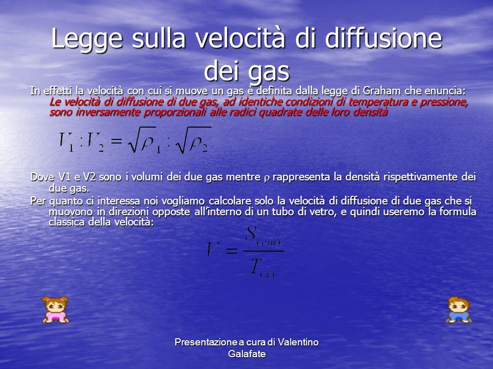 Presentazione a cura di Valentino Galafate Legge sulla velocità di diffusione dei gas In effetti la velocità con cui si muove un gas è definita dalla