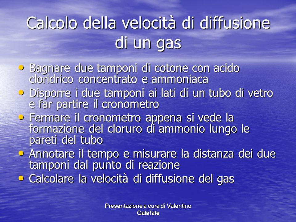 Presentazione a cura di Valentino Galafate Calcolo della velocità di diffusione di un gas Bagnare due tamponi di cotone con acido cloridrico concentra