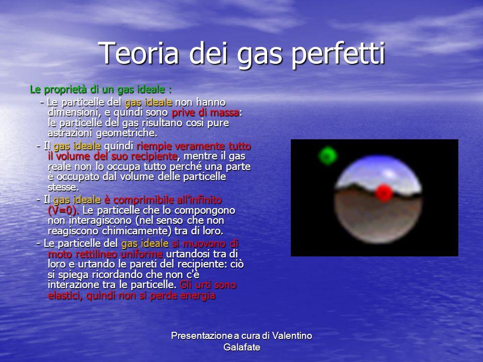 Presentazione a cura di Valentino Galafate Teoria dei gas perfetti Le proprietà di un gas ideale : - Le particelle del gas ideale non hanno dimensioni
