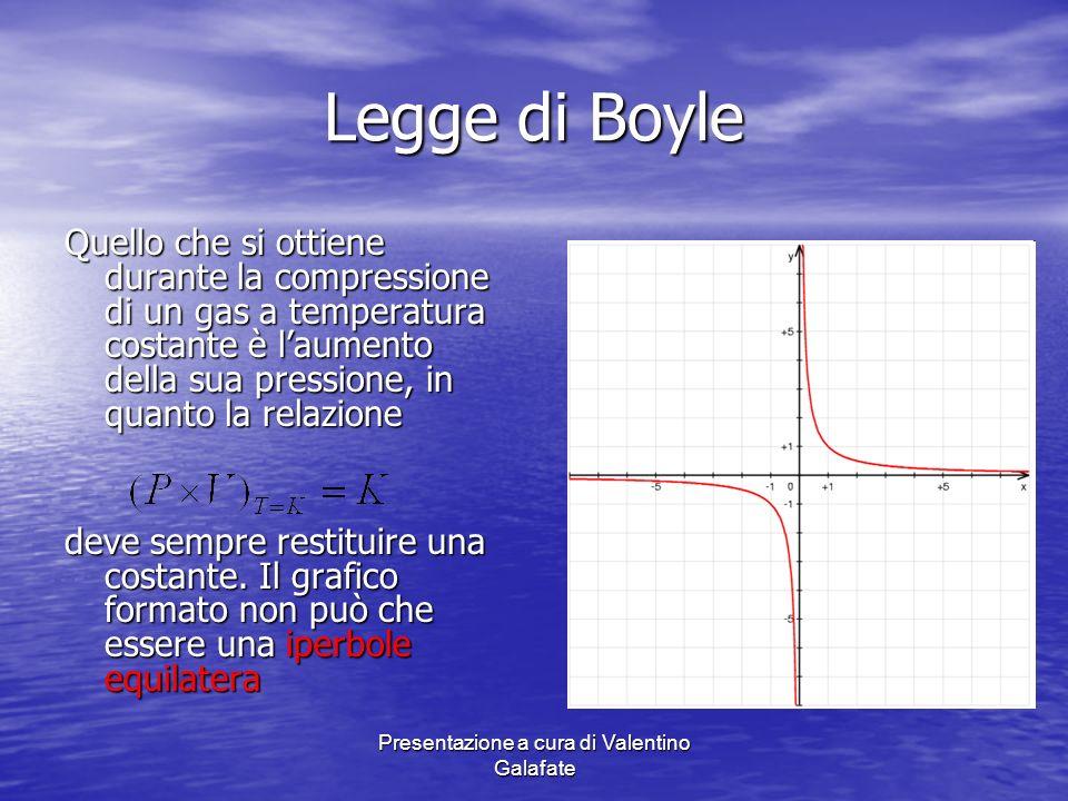 Presentazione a cura di Valentino Galafate Legge di Boyle Quello che si ottiene durante la compressione di un gas a temperatura costante è laumento de