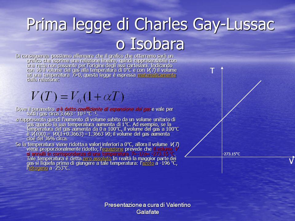 Presentazione a cura di Valentino Galafate Prima legge di Charles Gay-Lussac o Isobara Di conseguenza possiamo affermare che il grafico che otterremo