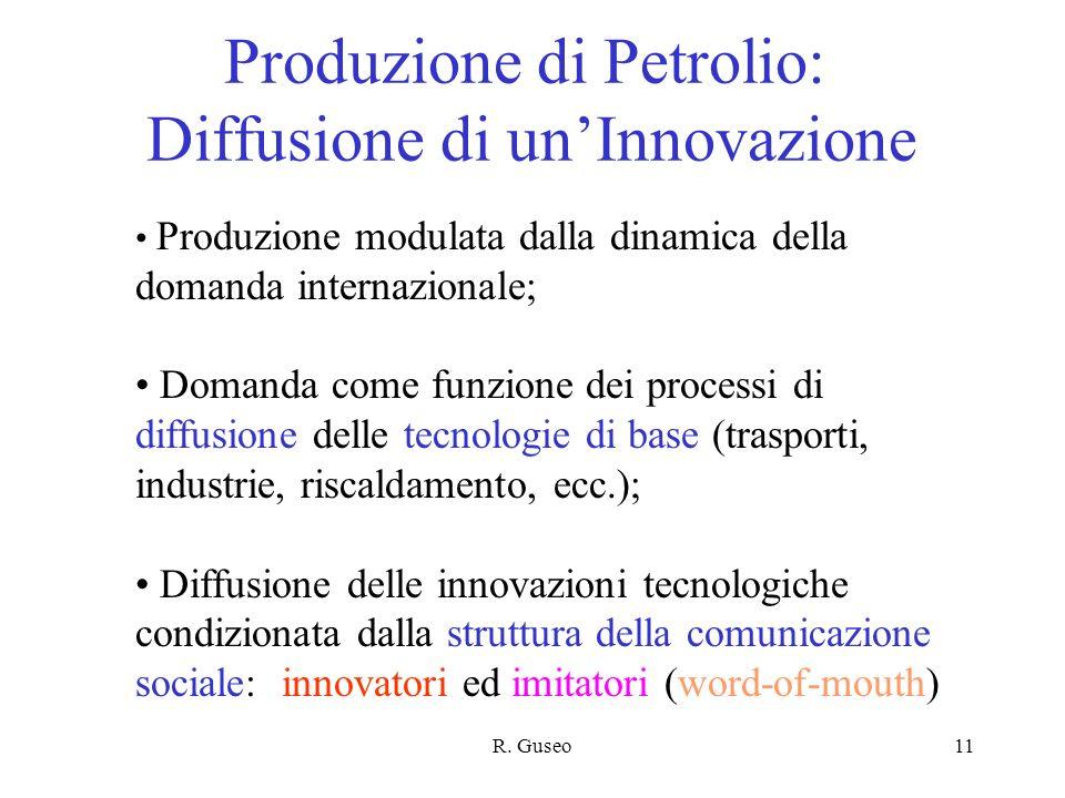 R. Guseo11 Produzione di Petrolio: Diffusione di unInnovazione Produzione modulata dalla dinamica della domanda internazionale; Domanda come funzione