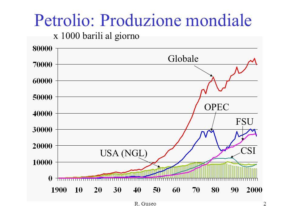 R. Guseo2 Petrolio: Produzione mondiale x 1000 barili al giorno Globale OPEC USA (NGL) FSU CSI