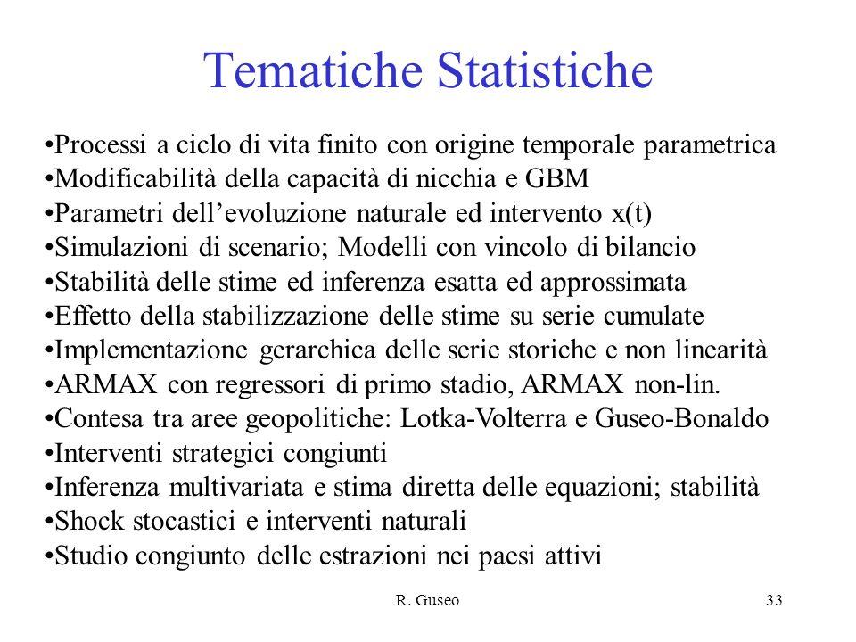 R. Guseo33 Tematiche Statistiche Processi a ciclo di vita finito con origine temporale parametrica Modificabilità della capacità di nicchia e GBM Para