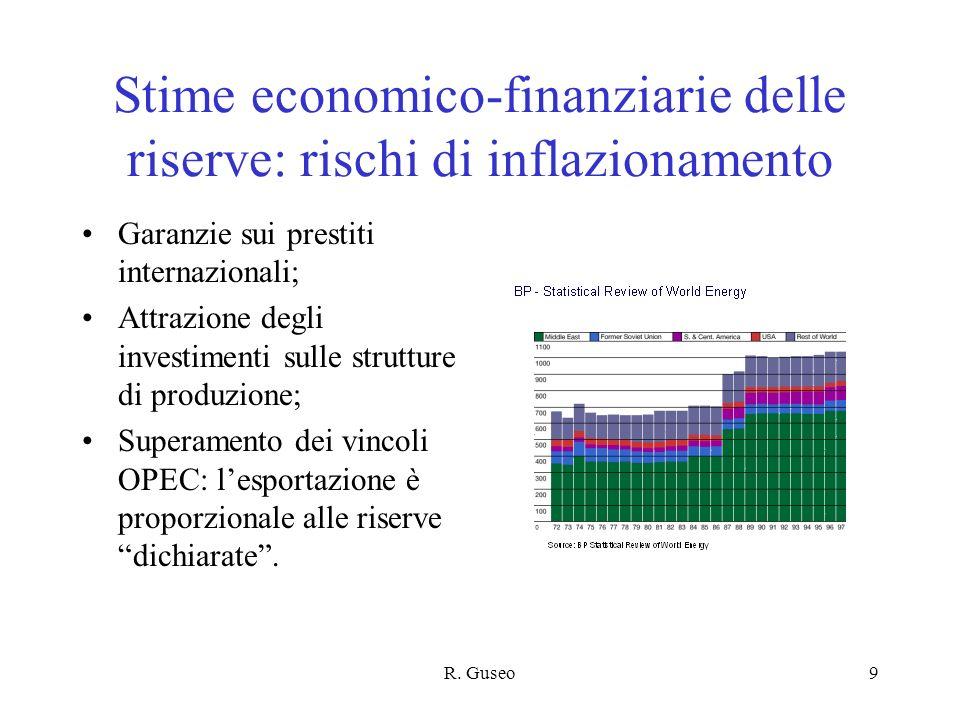 R. Guseo9 Stime economico-finanziarie delle riserve: rischi di inflazionamento Garanzie sui prestiti internazionali; Attrazione degli investimenti sul