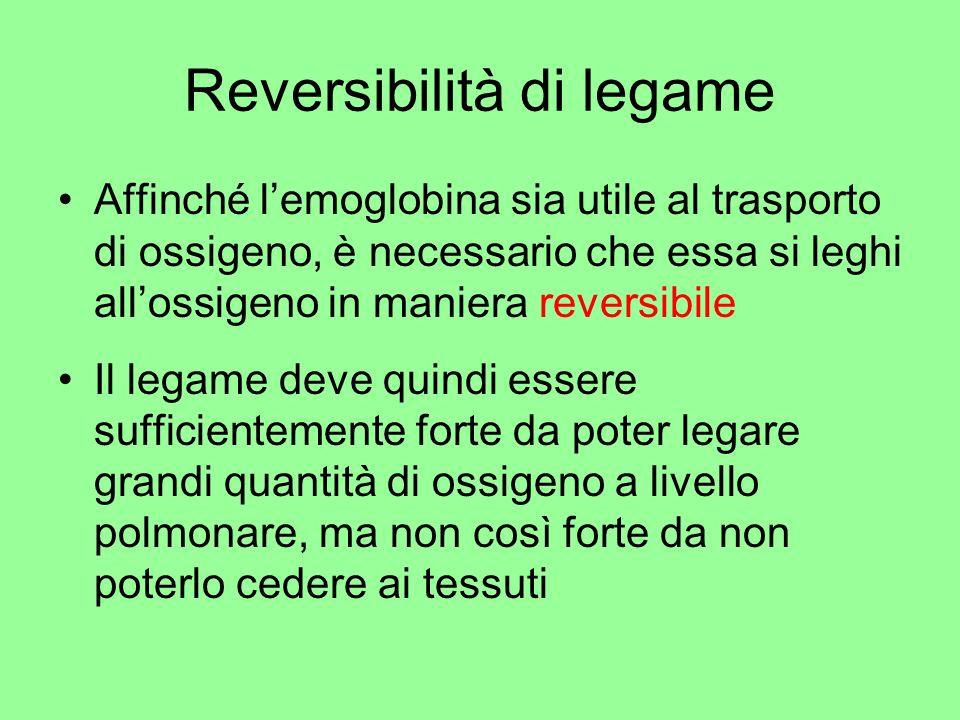 Reversibilità di legame Affinché lemoglobina sia utile al trasporto di ossigeno, è necessario che essa si leghi allossigeno in maniera reversibile Il