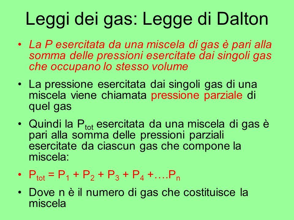 Leggi dei gas: Legge di Dalton La P esercitata da una miscela di gas è pari alla somma delle pressioni esercitate dai singoli gas che occupano lo stes