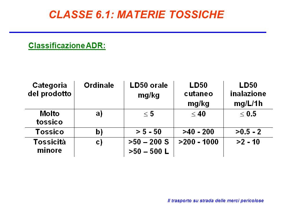 Il trasporto su strada delle merci pericolose CLASSE 6.1: MATERIE TOSSICHE Classificazione ADR: