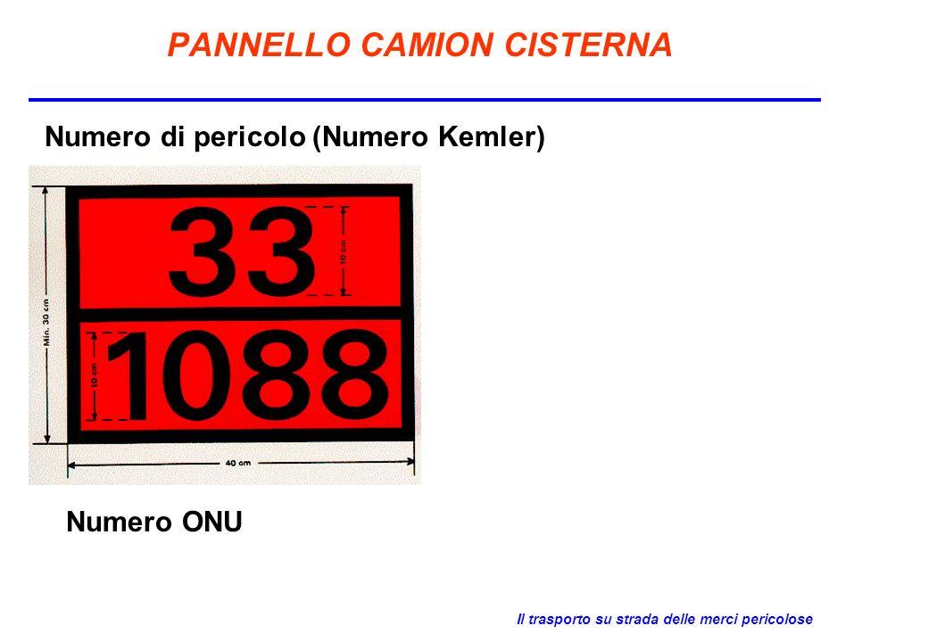 Il trasporto su strada delle merci pericolose PANNELLO CAMION CISTERNA Numero di pericolo (Numero Kemler) Numero ONU