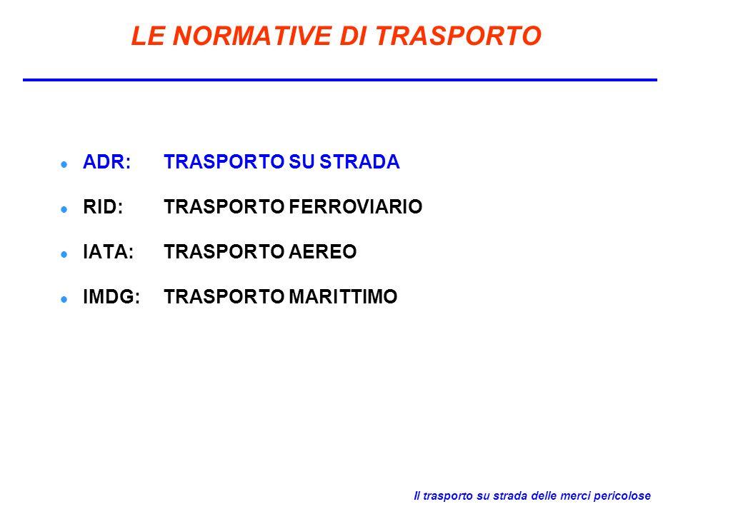 Il trasporto su strada delle merci pericolose LE NORMATIVE DI TRASPORTO ADR: TRASPORTO SU STRADA RID: TRASPORTO FERROVIARIO IATA: TRASPORTO AEREO IMDG