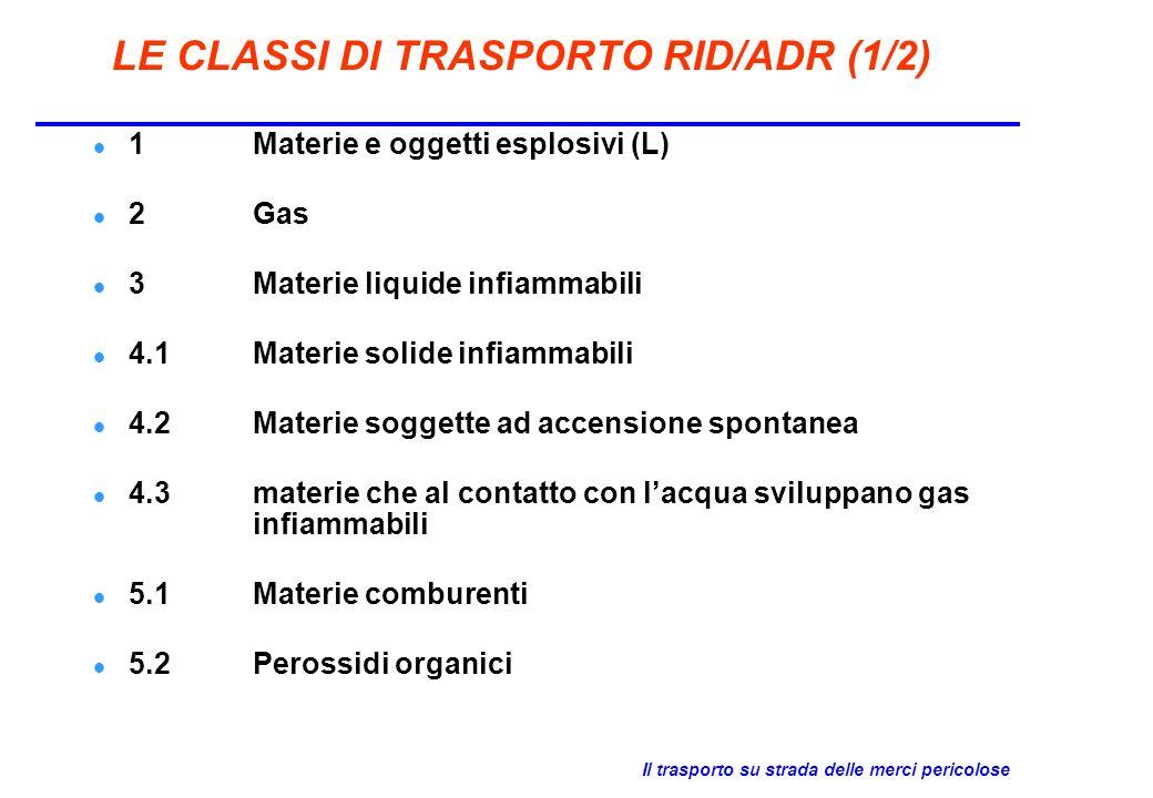 Il trasporto su strada delle merci pericolose LE CLASSI DI TRASPORTO RID/ADR (2/2) 6.1Materie tossiche 6.2Materie infettanti 7Materie radioattive (L) 8Materie corrosive 9Materie e oggetti pericolosi diversi (L) = classe limitativa