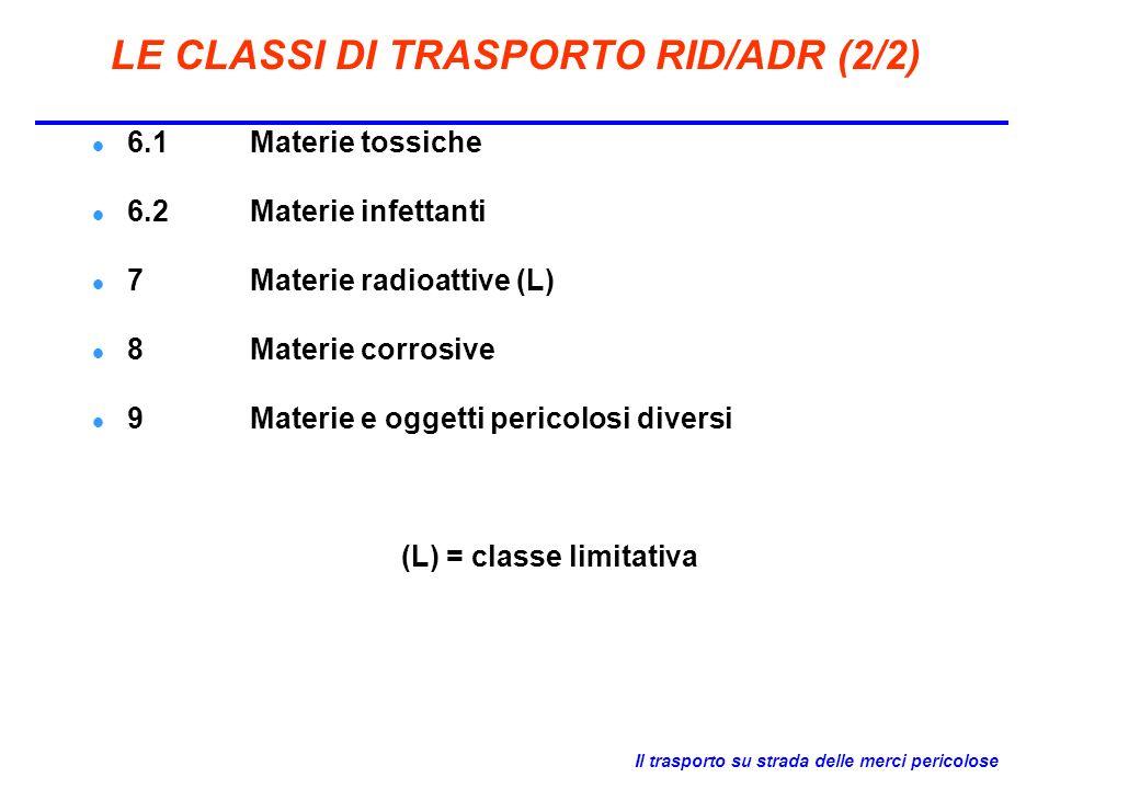 Il trasporto su strada delle merci pericolose LE CLASSI DI TRASPORTO RID/ADR (2/2) 6.1Materie tossiche 6.2Materie infettanti 7Materie radioattive (L)