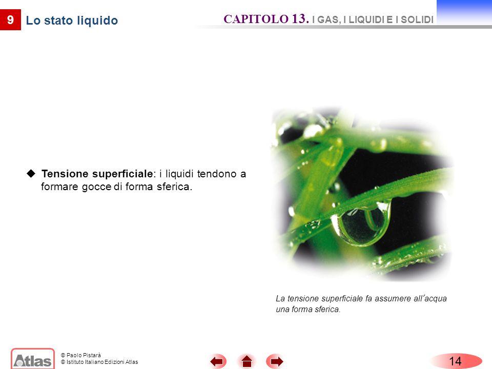 © Paolo Pistarà © Istituto Italiano Edizioni Atlas Tensione superficiale: i liquidi tendono a formare gocce di forma sferica. 14 9 Lo stato liquido La