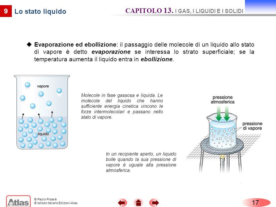 © Paolo Pistarà © Istituto Italiano Edizioni Atlas Evaporazione ed ebollizione: il passaggio delle molecole di un liquido allo stato di vapore è detto