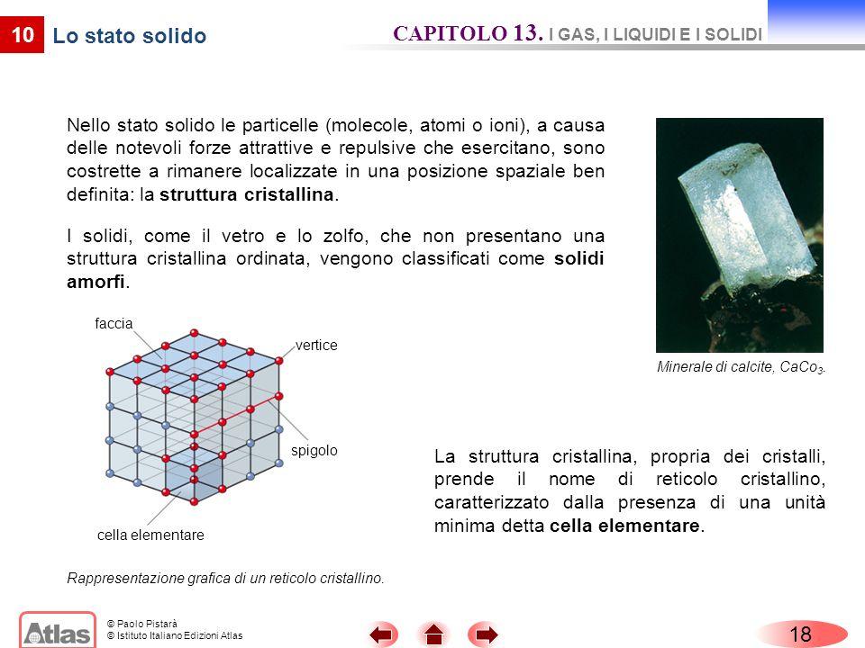 © Paolo Pistarà © Istituto Italiano Edizioni Atlas Nello stato solido le particelle (molecole, atomi o ioni), a causa delle notevoli forze attrattive