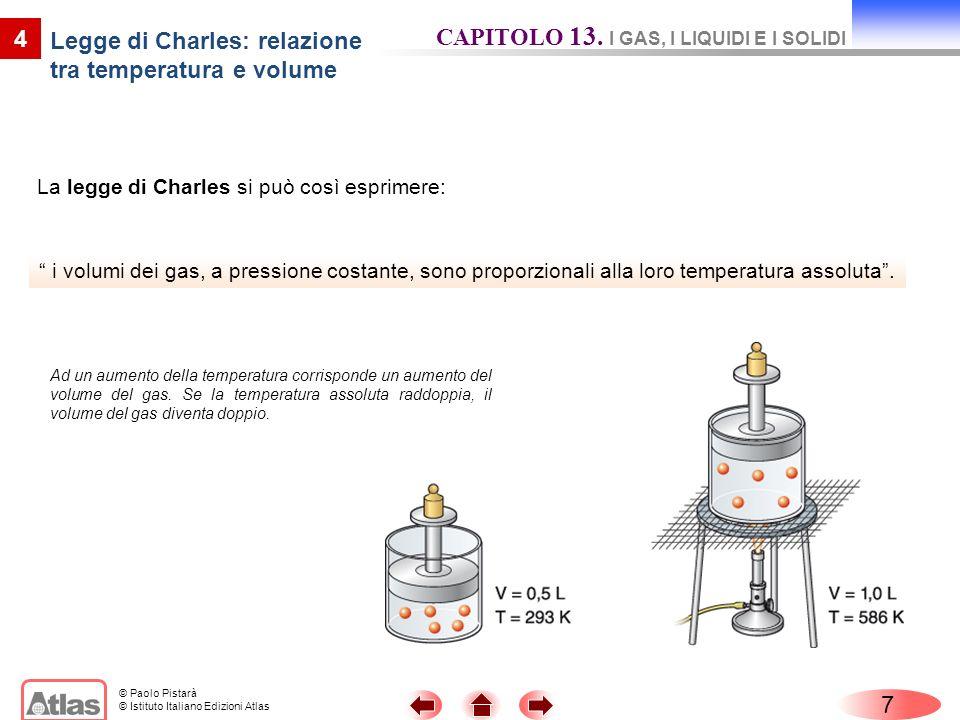 © Paolo Pistarà © Istituto Italiano Edizioni Atlas La legge di Charles si può così esprimere: 7 4 i volumi dei gas, a pressione costante, sono proporz