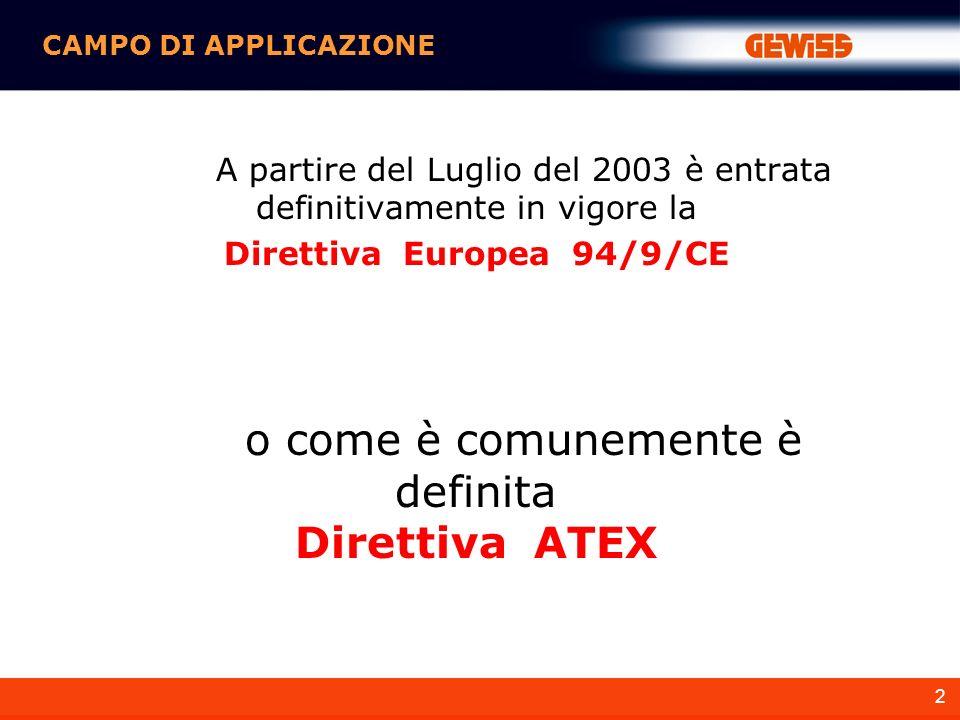 2 A partire del Luglio del 2003 è entrata definitivamente in vigore la Direttiva Europea 94/9/CE CAMPO DI APPLICAZIONE o come è comunemente è definita Direttiva ATEX