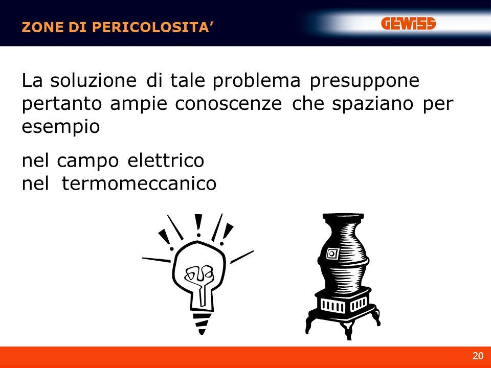 20 ZONE DI PERICOLOSITA La soluzione di tale problema presuppone pertanto ampie conoscenze che spaziano per esempio nel campo elettrico nel termomeccanico