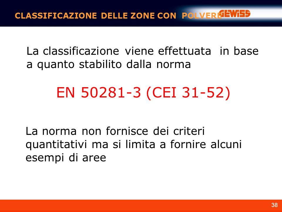 38 La norma non fornisce dei criteri quantitativi ma si limita a fornire alcuni esempi di aree CLASSIFICAZIONE DELLE ZONE CON POLVERE La classificazione viene effettuata in base a quanto stabilito dalla norma EN 50281-3 (CEI 31-52)