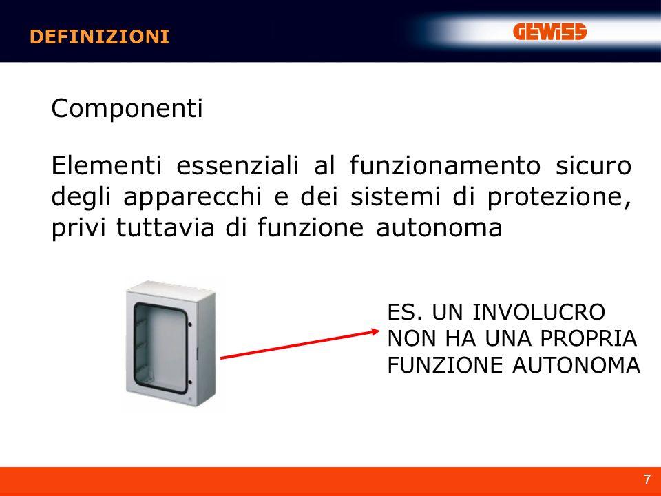 7 DEFINIZIONI Componenti Elementi essenziali al funzionamento sicuro degli apparecchi e dei sistemi di protezione, privi tuttavia di funzione autonoma ES.