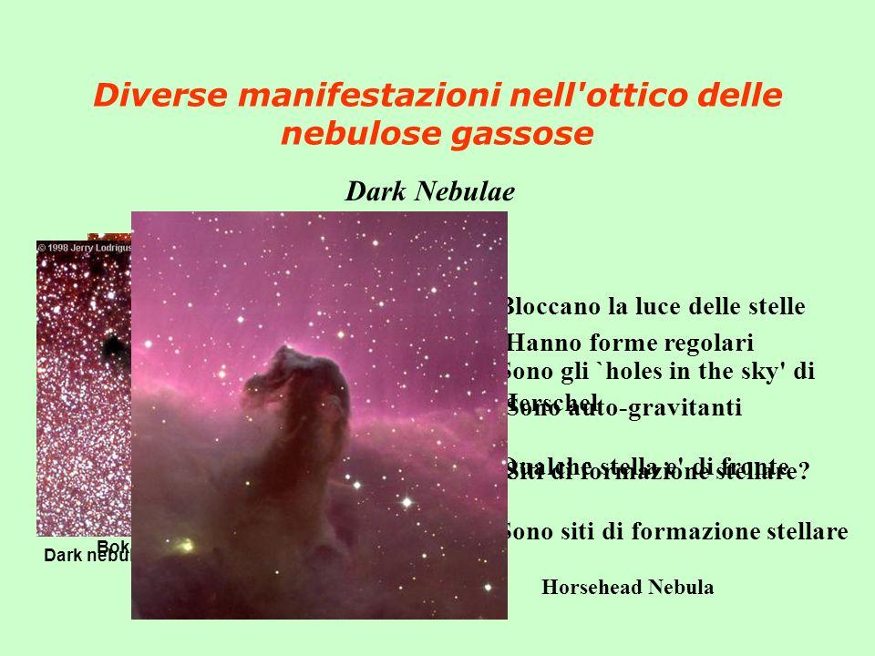 Diverse manifestazioni nell'ottico delle nebulose gassose Dark Nebulae Bok globules in IC2948 Dark nebulae B92 and B93 in Sagittarius Bloccano la luce