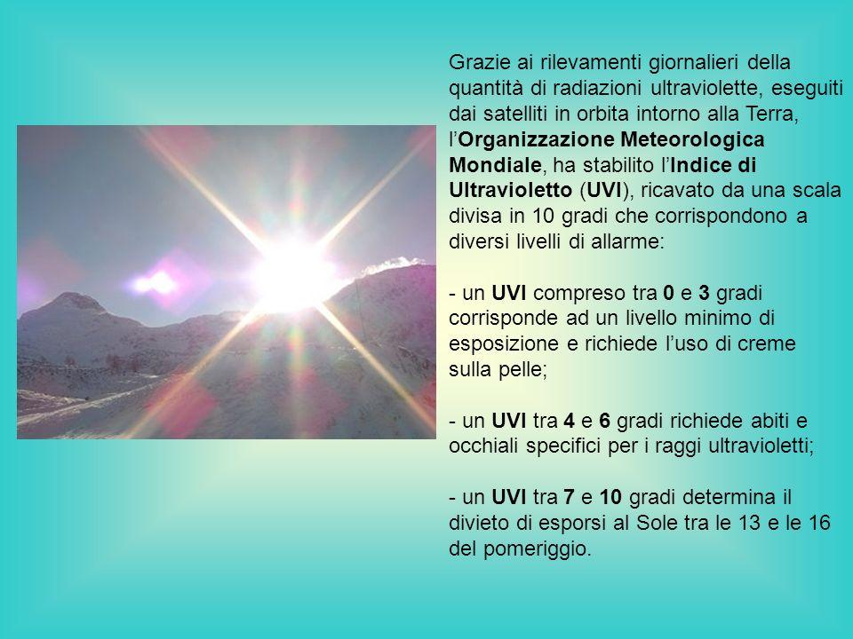 Grazie ai rilevamenti giornalieri della quantità di radiazioni ultraviolette, eseguiti dai satelliti in orbita intorno alla Terra, lOrganizzazione Met