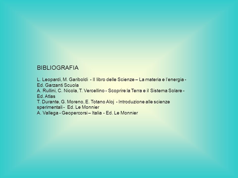 BIBLIOGRAFIA L. Leopardi, M. Gariboldi - Il libro delle Scienze – La materia e lenergia - Ed. Garzanti Scuola A. Rullini, C. Nicola, T. Vercellino - S