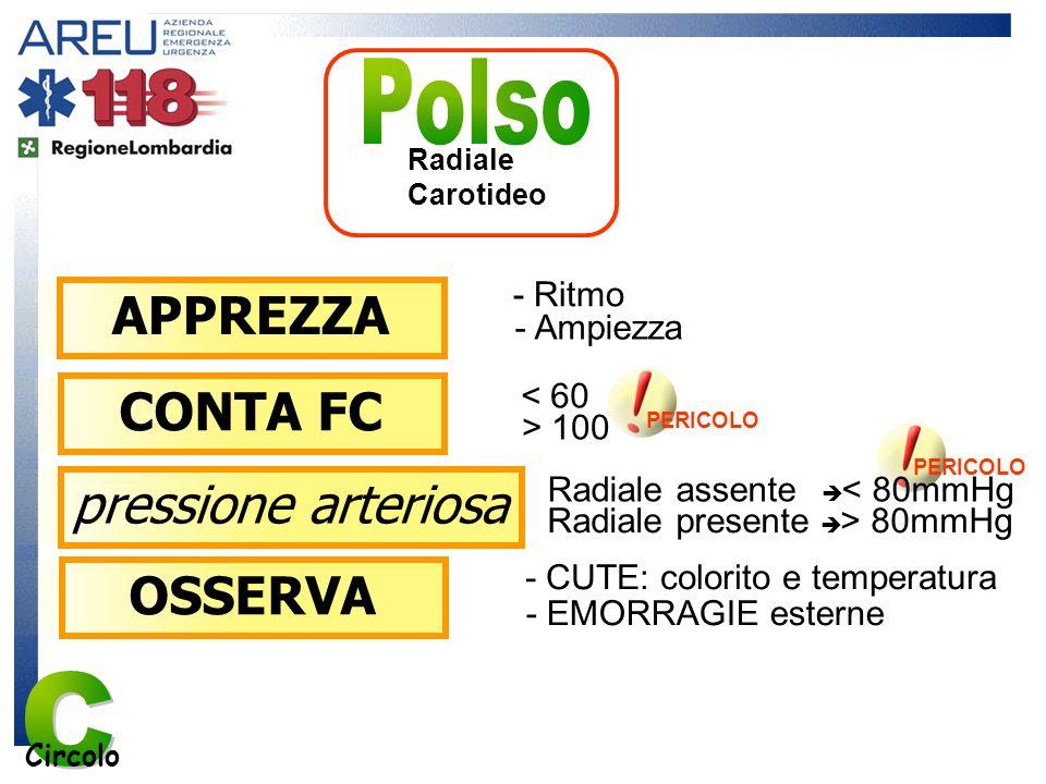 APPREZZA PERICOLO - Ritmo - Ampiezza < 60 CONTA FC Radiale assente < 80mmHg pressione arteriosa PERICOLO Radiale Carotideo Circolo Radiale presente >