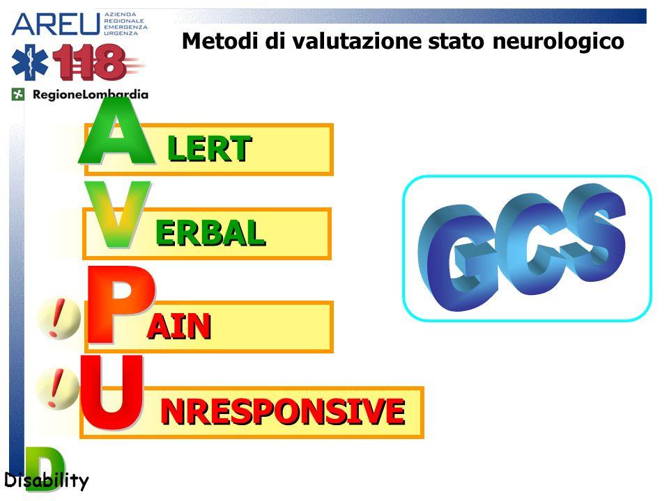 Disability Metodi di valutazione stato neurologico AIN NRESPONSIVE LERT ERBAL