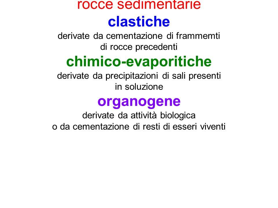 rocce sedimentarie clastiche derivate da cementazione di frammemti di rocce precedenti chimico-evaporitiche derivate da precipitazioni di sali present