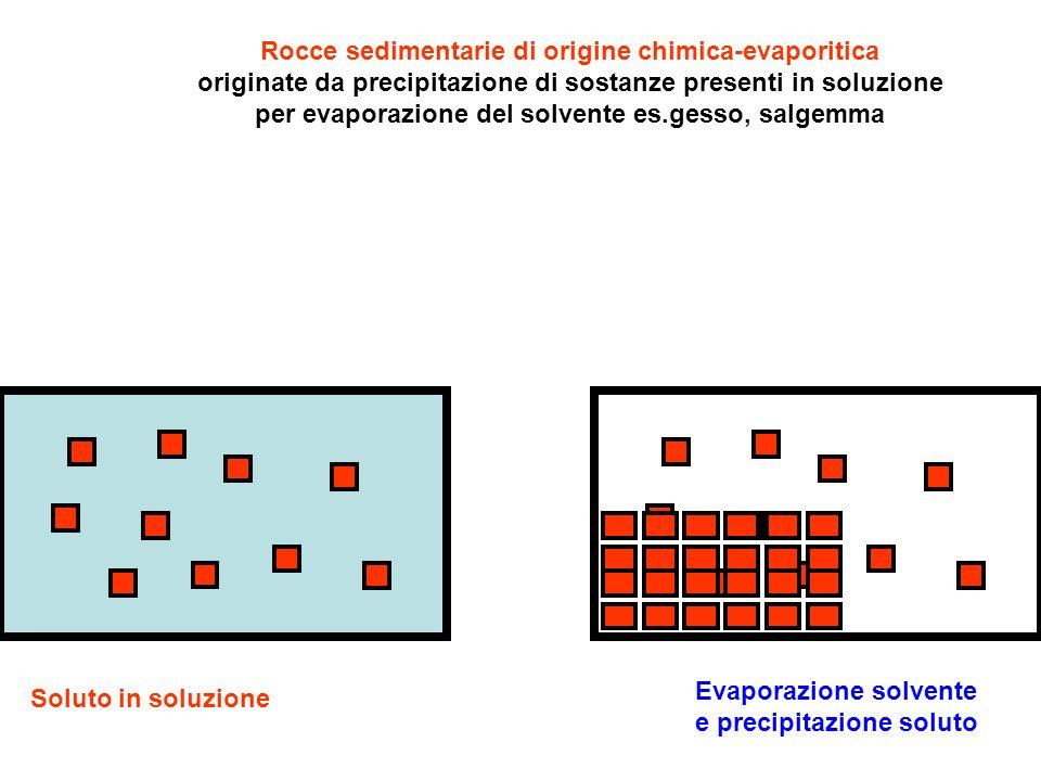 Rocce sedimentarie di origine chimica-evaporitica originate da precipitazione di sostanze presenti in soluzione per evaporazione del solvente es.gesso