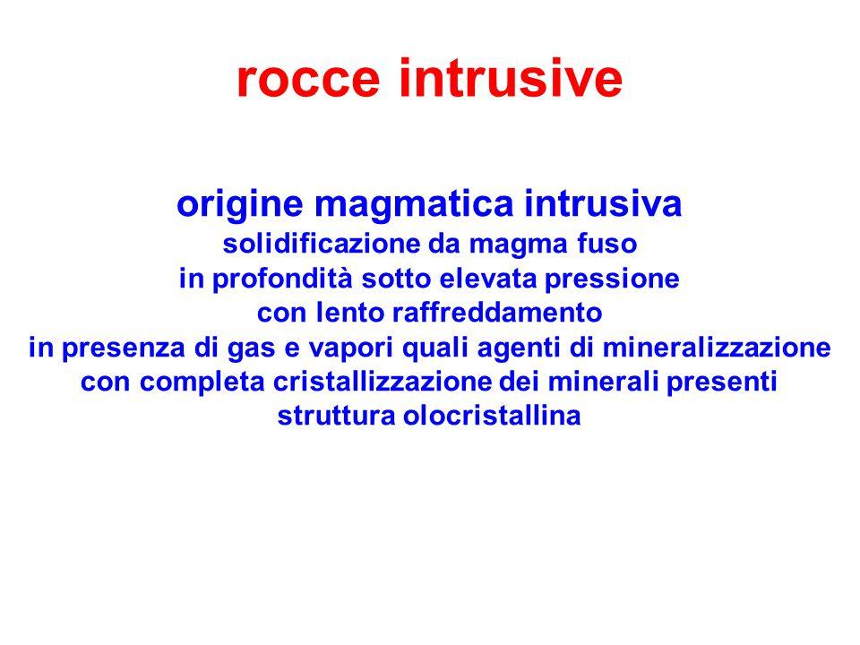 rocce intrusive origine magmatica intrusiva solidificazione da magma fuso in profondità sotto elevata pressione con lento raffreddamento in presenza d