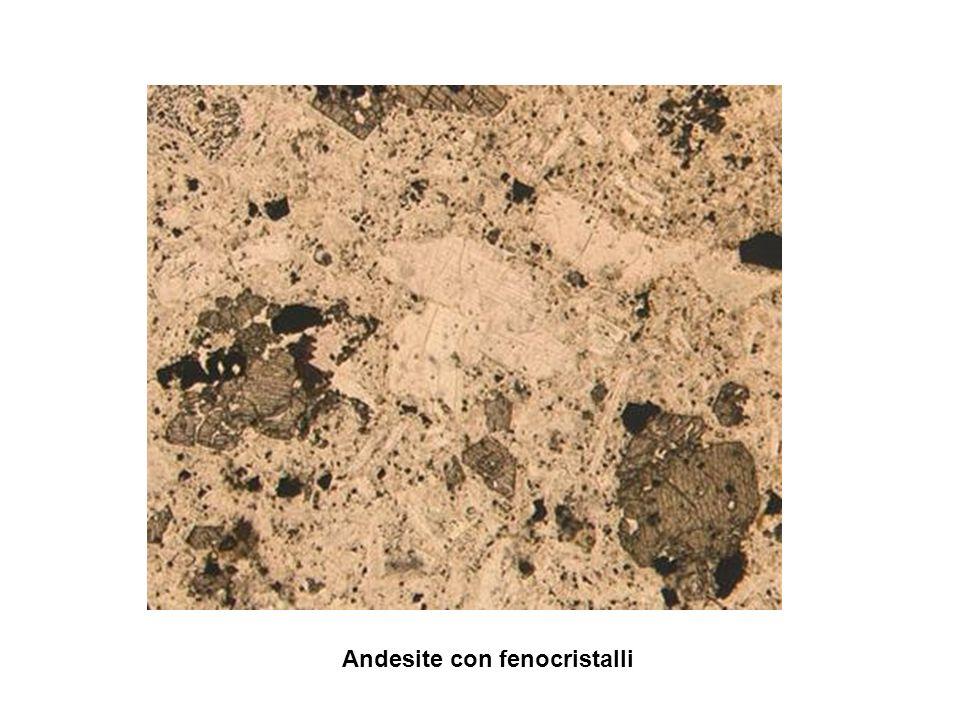Formazione di fenocristalli in rocce magmatiche effusive Magma con ioni separati:rapido raffreddamento non permette agli ioni di legarsi a formare cristalli:solo alcuni possono formare cristalli mentre il magma è ancora caldo :resteranno immersi in una massa amorfa: fenocristalli fenocristalli Massa amorfa