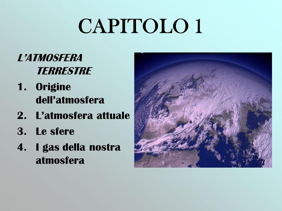 CAPITOLO 1 LATMOSFERA TERRESTRE 1.Origine dellatmosfera 2.Latmosfera attuale 3.Le sfere 4.I gas della nostra atmosfera