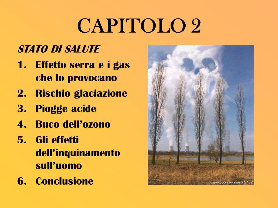 CAPITOLO 2 STATO DI SALUTE 1.Effetto serra e i gas che lo provocano 2.Rischio glaciazione 3.Piogge acide 4.Buco dellozono 5.Gli effetti dellinquinamen