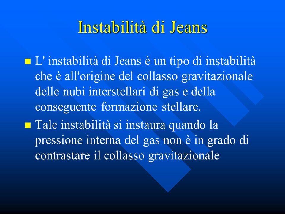 Instabilità di Jeans L' instabilità di Jeans è un tipo di instabilità che è all'origine del collasso gravitazionale delle nubi interstellari di gas e