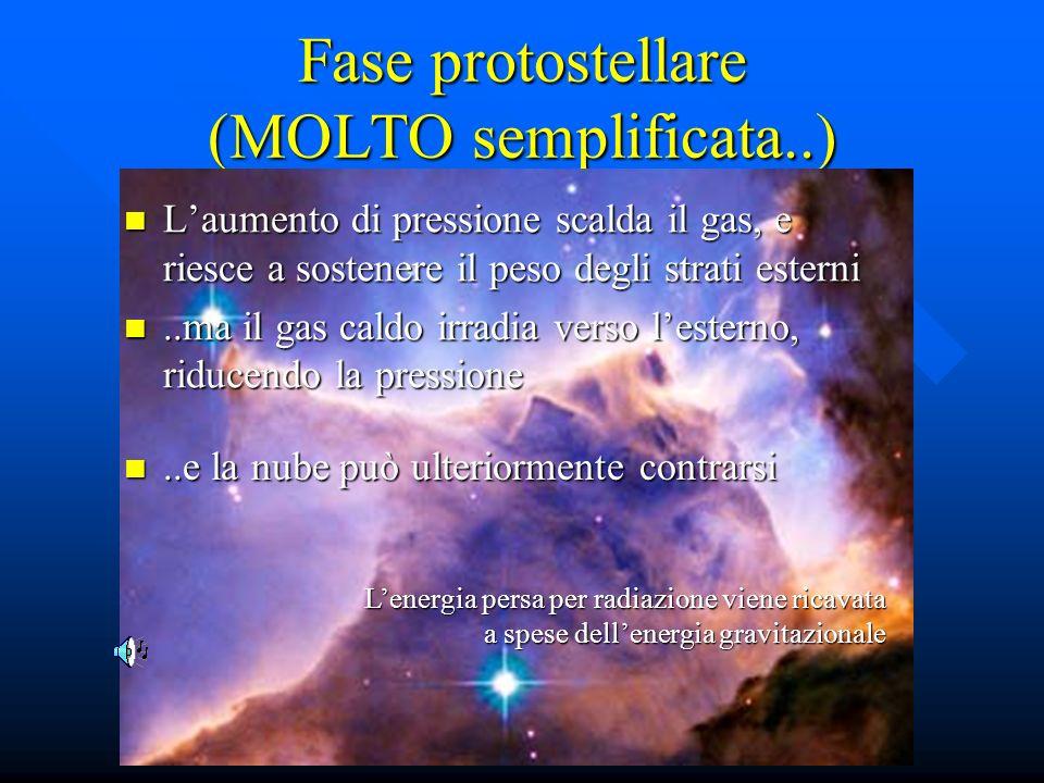 Fase protostellare (MOLTO semplificata..) Laumento di pressione scalda il gas, e riesce a sostenere il peso degli strati esterni Laumento di pressione
