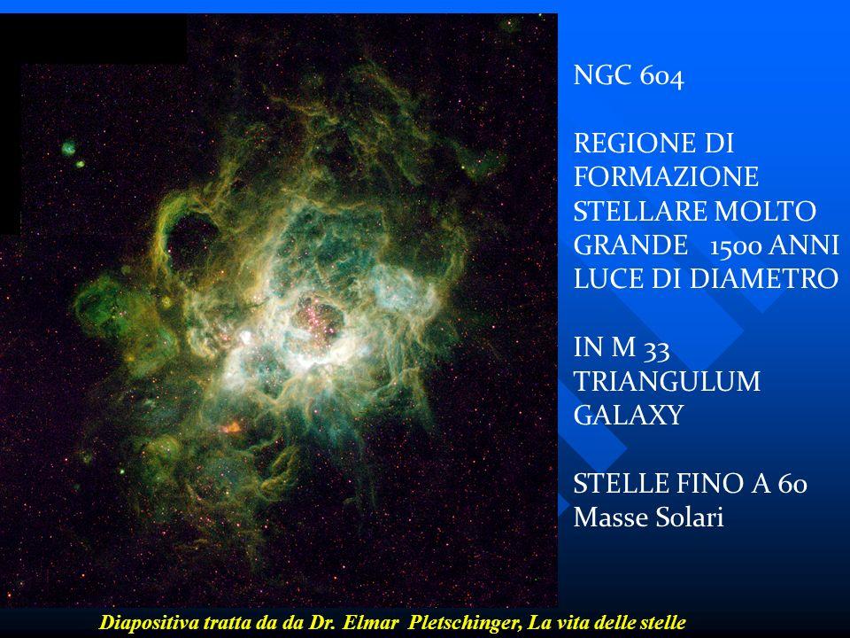NGC 604 REGIONE DI FORMAZIONE STELLARE MOLTO GRANDE 1500 ANNI LUCE DI DIAMETRO IN M 33 TRIANGULUM GALAXY STELLE FINO A 60 Masse Solari Diapositiva tra