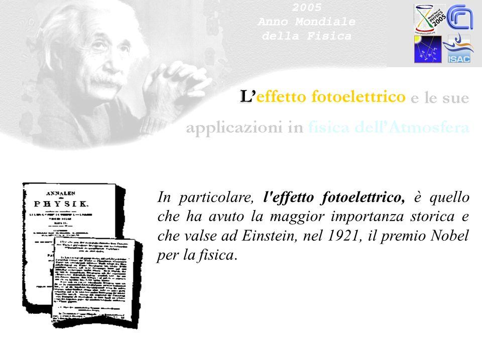 Leffetto fotoelettrico In particolare, l'effetto fotoelettrico, è quello che ha avuto la maggior importanza storica e che valse ad Einstein, nel 1921,